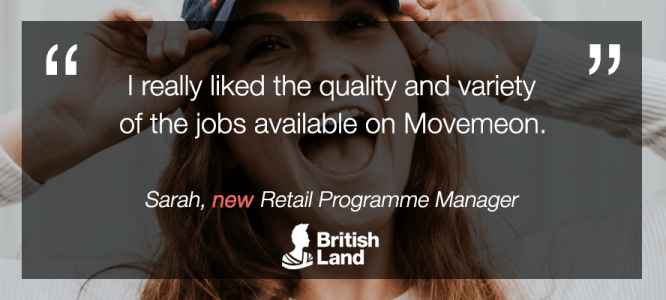 Sarah celebrates becoming Retail Programme Manager at British Land London