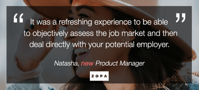 Natasha celebrates her new Product Manager job at Zopa, London