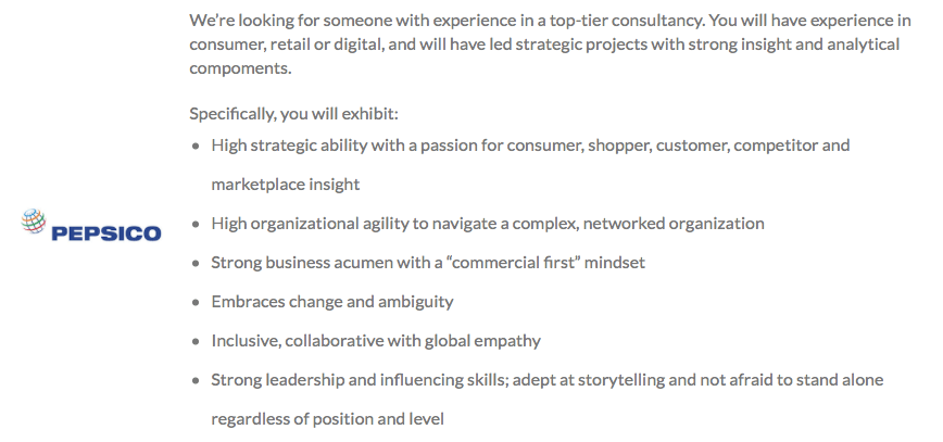 Pepsico strategy team requirements