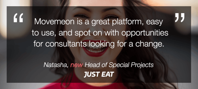 Natasha celebrates her new role at JUST EAT!