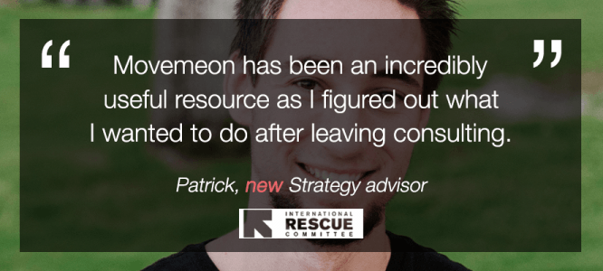Patrick celebrates his new role at International Rescue Committee