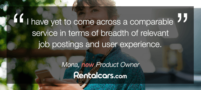 Mona celebrates her new role at Rentalcars.com