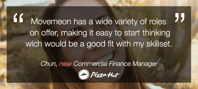 Chun celebrates her new role as the senior commercial finance manager at Pizza Hut