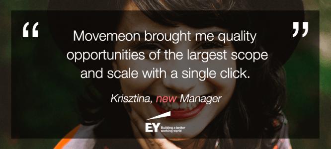 Krisztina celebrates her new job at EY
