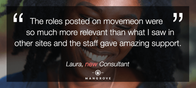 Laura celebrates her new role at Mangrove Consulting